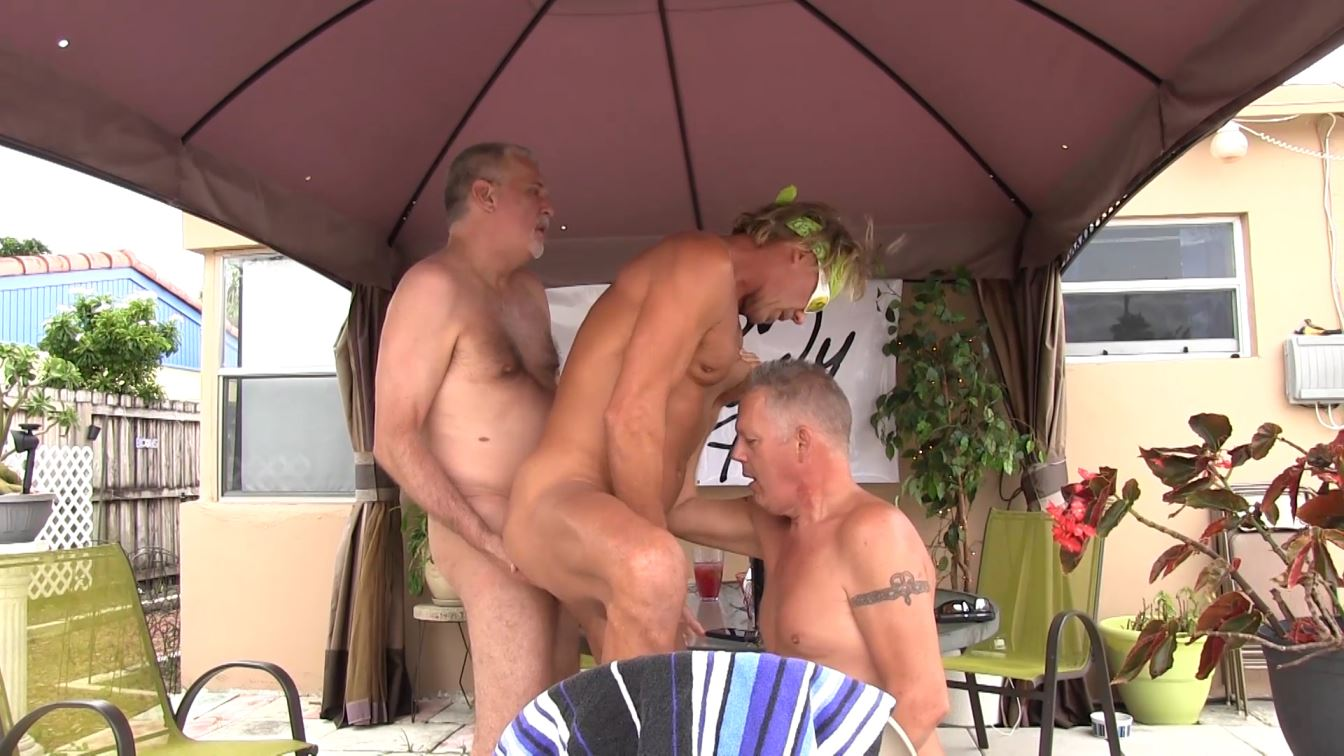 Back Yard Gay Bareback Threesome