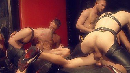 Six Men Leather Bareback Orgy