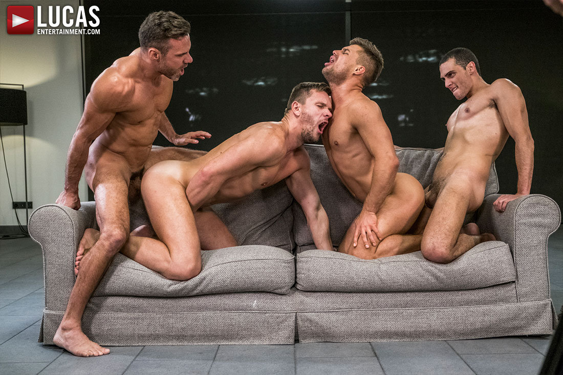 Four Guys Gay Bareback Orgy